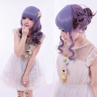 Harajuku Style Long Wavy Curly Full Wig Purple Mix Wig Hair Cosplay Costume