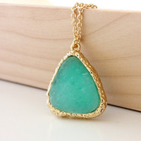 ONLY TODAY SPECIAL - Druzy pendant mint on gold chain