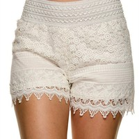 Lace Crochet Shorts, Off White