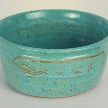 Bread Baker, Bread Bowl, Casserole, Serving Dish, Bakeware, with Bread Recipes, Estuary Speckled Turquoise, Celtic BraidMotif
