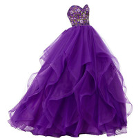 Ruffled Ball Gown Prom Dresses 2017 New Arrival Tulle and Organza Prom Dresses with Embroidered Sweetheart Pageant Dress WH86