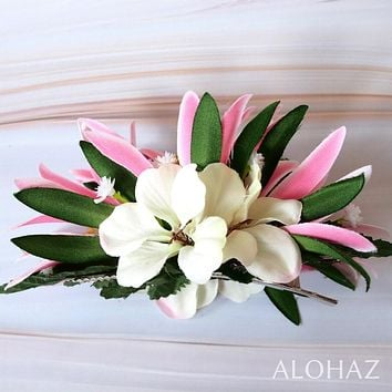 Pink Heavenly Hawaiian Flower Hair Clip