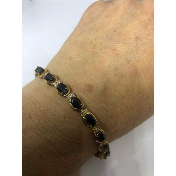 Handmade Genuine Blue Sapphire and White Sapphire Gold Rhodium Finished 925 Sterling Silver Tennis Bracelet
