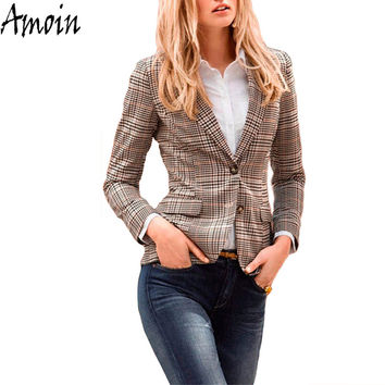 Amoin Women Plaid Blazer New Spring Autumn Fashion Plaid Elbow Patches Two Button Slim Fit Blazer Suit Casual Basic Jacket