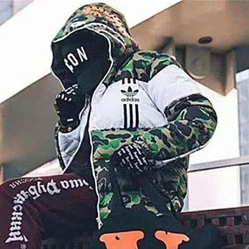 Adidas X Aape Fashion Edgy Multicolor Pattern Print Hooded Down Jackets