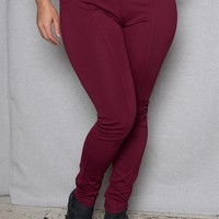 Slim-Fit Plus-Size Stretch Pants with Front & Back Seams - Brick