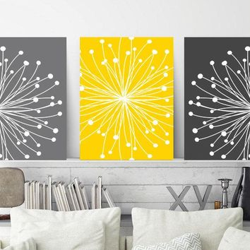 DANDELION Wall Art, CANVAS or Prints, Gray Yellow Bedroom, Bathroom Decor, Gray Bedroom Pictures, Flower Dandelion Set of 3 Home Wall Decor
