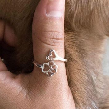 susenstone 2018 Beauty Hollow Paw Print Love Heart Adjustable Ring Animal Lovely Pet Ring Hollow Dog Paw Footprints Jewelry Ring