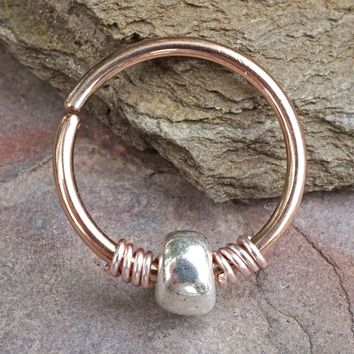 Silver Beaded 16g 18g or 20 Gauge Rose Gold Nose Hoop Ring or Helix Tragus Cartilage Hoop Earring