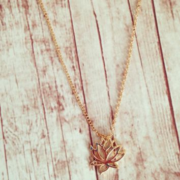 Lotus Charm Necklace by KnitPopShop