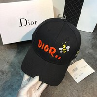 Dior Fashion New Stripe Embroidery Letter Sunscreen Women Men Hat