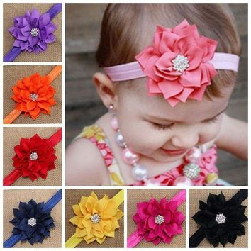 ONETOW Fashion Cute Children Flower Hair Band Head Hoop Beautiful Lotus Rhinestone Headband H9