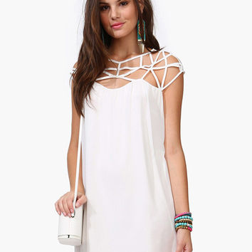 White Strappy A-Line Chiffon Mini Dress