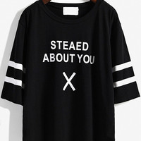 Graph Print Stripe Sleeve Black T-shirt
