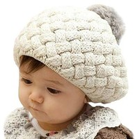 Baby Infant Boy Girl Knit Warm Beanie Crochet Rib Pom Pom Hat Cap Beige