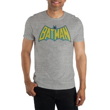 DC Comics Batman Bat Shaped Gray Men's Specialty Hand Print T-Shirt