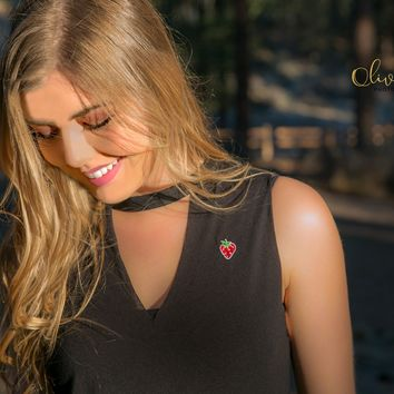 STRAWBERRY Embroidered Cut-Out Neck Black Tank ALL SIZES