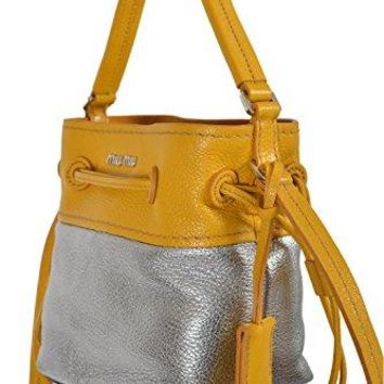 Miu Miu Women's Two Tone Leather Bucket Handbag Shoulder Bag