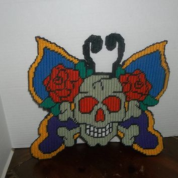 handmade plastic canvas skull butterfly with roses wall hanging door decor