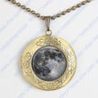 Full moon locket necklace - Space jewelry full moon pendent gift