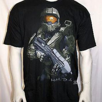 Licensed cool HALO 4 MASTER CHIEF SOLDIER Xbox 360 VIDEO GAME MEN'S Black Tee T-Shirt  XX