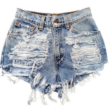 Favorite Shredded High Waisted Levis Shorts by BohoChildGarments