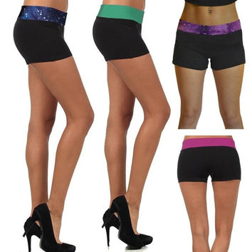 Ladys Active Sports Fitness Contrast Yoga Shorts Fold Over Cotton Spandex Shorts = 1932750596