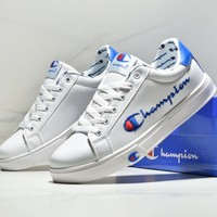 CHAMPION Tide brand embroidery soft leather low cut casual shoes White/Blue tail