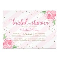 Floral bridal Shower invitations in pink and gold