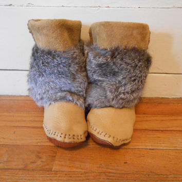 Fur Wrap Moccasins, Calf Height, Custom Made to Order, Native American Handmade, Hand Sewn, Powwow, Rendezvous, Regalia, Mountain Man