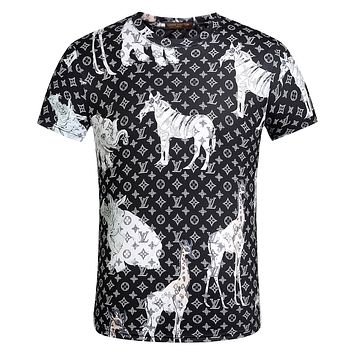 LV Louis Vuitton Fashion Casual Print T-Shirt Top Tee Black