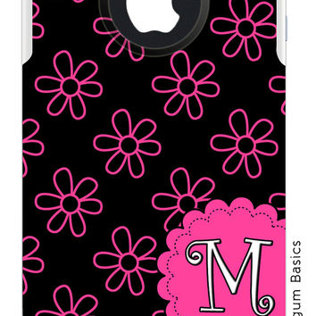 OTTERBOX Commuter iPhone 5 5S 5C 4/4S Case Neon Hot Pink Black Flowers Floral Letter Initials Personalized Monogram