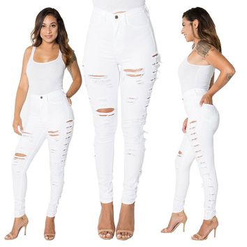 High Waist White Ripped Jeans