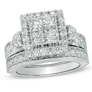 3 CT. T.W. Princess-Cut Quad Diamond Square Frame Bridal Set in 14K White Gold - View All Rings - Zales