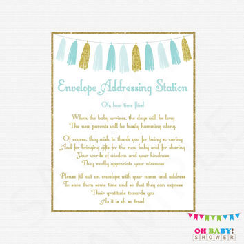 Envelope Addressing Station, Baby Shower Printable, Blue and Gold Baby Shower, Boy, Write Your Address Sign, Tassels, Instant Download TASBG