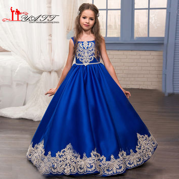 2017 Royal Blue Flower Girls Dresses for Weddings with Gold Lace Appliques Little Girls Pageant Gowns First Communion Dress
