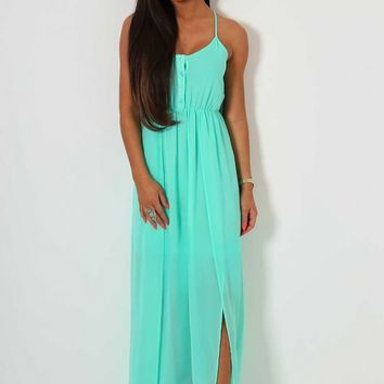 Felisa Aqua Green Maxi Dress | Pink Boutique