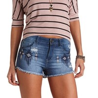 TRIBAL EMBROIDERED HIGH-WAISTED DENIM SHORTS