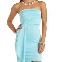 Cascade Ruffle Strapless Bodycon Dress by Charlotte Russe - Ice Blue