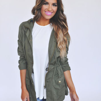 Olive/Plaid Hooded Jacket