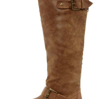 Madden Girl Cactuss Cognac Studded Knee-High Riding Boots