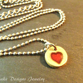 Bronze teeny tiny heart wax seal Red heart necklace
