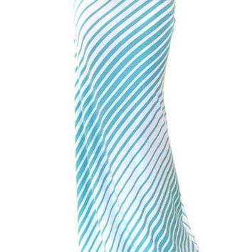 Ellie Blue Ivory Striped Long Maxi Skirt