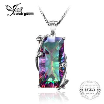 JewelryPalace Rectangle Luxury 15ct Natural Topaz Pendant Necklaces Genuine 925 Sterling Silver Vintage Jewelry 45cm Box Chain
