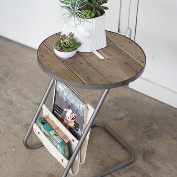 Round Metal Accent Table with Reclaimed Slatted Wood Top