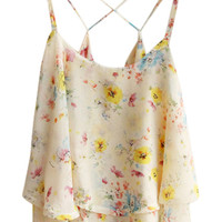 ROMWE Crossed Straps Floral Print Midrif Loose Vest