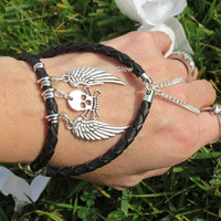 Sized Black Leather Biker Bracelet, Slave Bracelet, Leather Bracelet, Skull, Crossbones, Angel Wings, Leather Charm Bracelet, Bracelet Ring