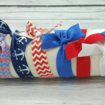 Set of 10 patriotic 4th of July colored fold over elastic hair ties, creaseless pony tail holders, pony-tail, accessories, foe, bracelet