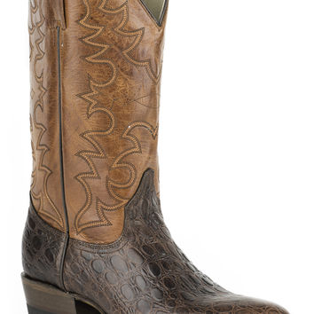 Roper Mens Faux Exotic On Leather R Toe Boots Faux Dark Brown Oiled Sea Turtle