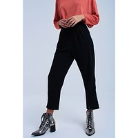 Black Pleated Woven Trouser